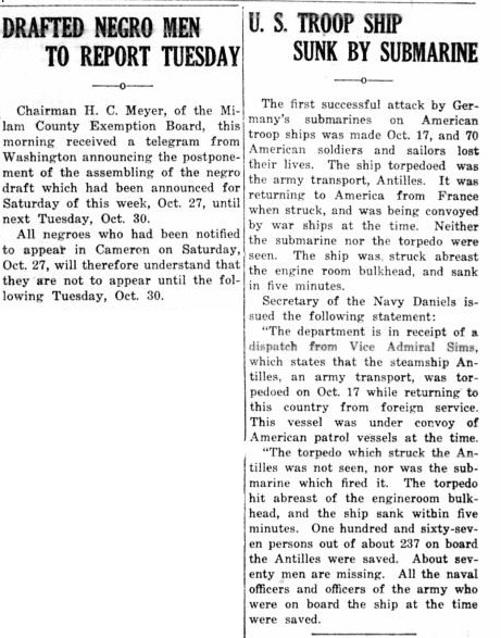 19171025 Rockdale Reporter, 25 Oct 1917, pg 1.jpg - 119kB